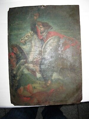 Original Antique Retablo On Tin Quite Old , San Santiago 10'' By 14''