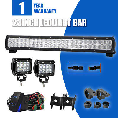 """CREE 23inch Led Work Light Bar Spot Flood Combo + 2x 4"""" Pods Offroad SUV Ford"""