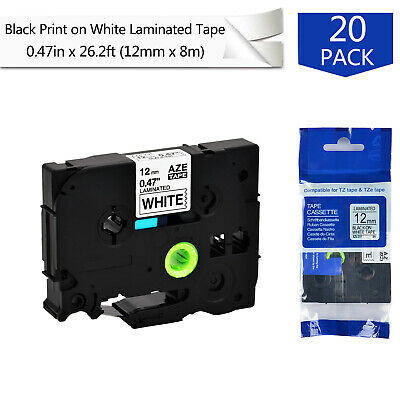 20PK 12mm Label tape For Brother P-Touch PT-1830 PT-1880 TZe-231 Black on White