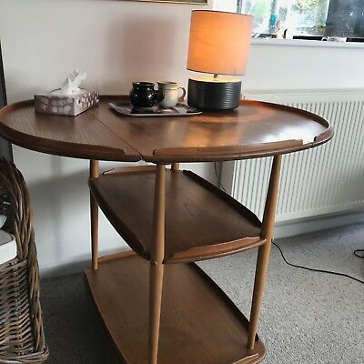 ERCOL - VINTAGE - 505 Drop Leaf Tea Trolley/table - Elm and Beech