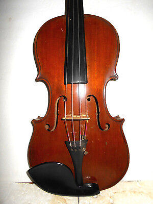 "Old Vintage Antique Early 1900s ""Markneukirchen"" 2 Pc Back Full Size Violin - NR"