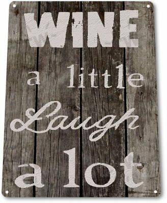 Wine a Little Laugh A lot Retro Funny Bar Kitchen Wall Art Decor Metal Tin Sign