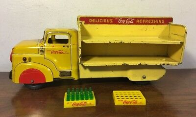 Vintage Marx Tin Coca Cola Delivery Truck #21 W Coke Toy Advertising Sign