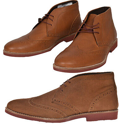 Mens Red Tape Desert Brogues Laceup Leather Formal Chukka Boots