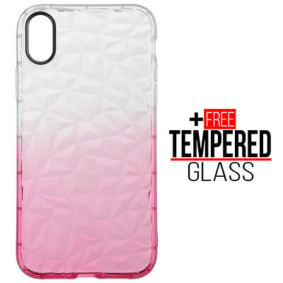 For iPhone XR Diamond Pattern Case Cover TPU Soft Silicone Gel Shockproof - Pink