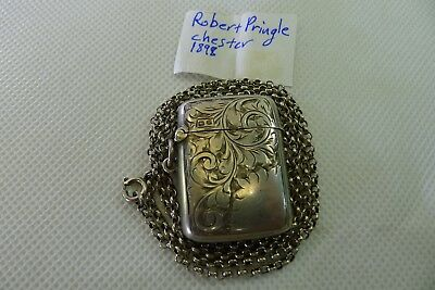antique art nouveau English Sterling Silver hinged lid vesta case box and chain