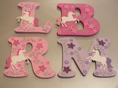 "6"" Hand Crafted Wooden Capital Unicorn Letters Door/Wall sign"