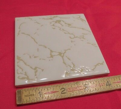 "1 pc. 4-1/4"" Olive Swirls on White Background by H&R Johnson Ltd,  Made England"
