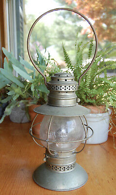 Beautiful Vintage Kerosene Oil Lantern by JH Kelly, Rochester - decorated glass