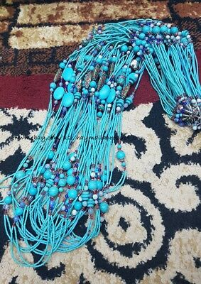 Afghan Natural Turquoise Tiny Seed Beads Necklace Silver Plated Handmade Jewelry
