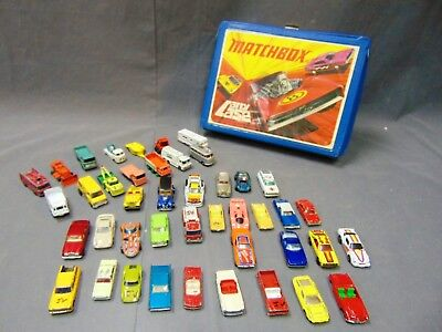Lot Of 43 Vintage Matchbox, Hot Wheels, Tomica Die-Cast Collectible Cars W Case