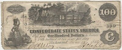1862 $100 Confederate Currency T-39/CR-294!!!