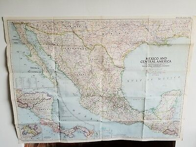 Vintage National geographic world map Mexico and Central America 1953