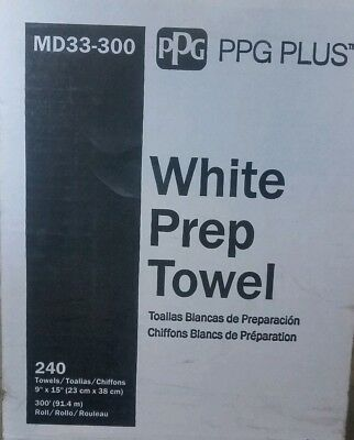 PPG MD33-300 White Pop Up Prep All Lint Free Rags  Body Shop Towels-240' Roll