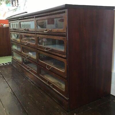 Antique Drapers/Haberdashery Mahogany Shop Cabinet Counter Drawers