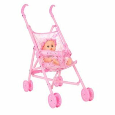 Baby Infant Doll Stroller Carriage Foldable With Doll For 12inch Doll Barbie FE