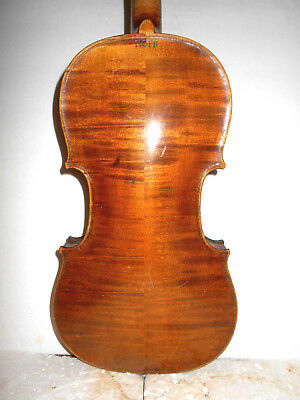 "Antique Old Vintage 1800s ""Cf Hopf"" 2 Pc Back Full Size Violin - NR"