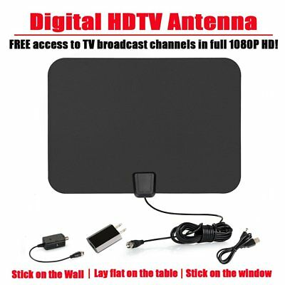 Amplified Indoor HDTV Antenna High Gain UHF VHF FM Digital TV 1080P 100 Miles