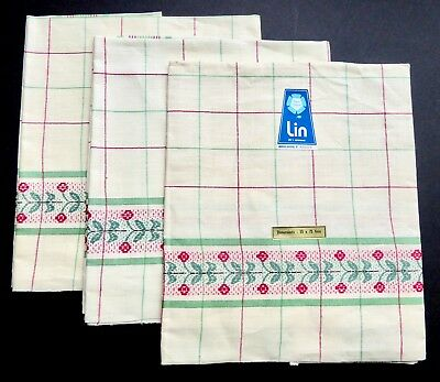 3 UNUSED VINTAGE FRENCH LINEN Fleur Bleue TEA TOWELS Lin RED GREEN Plaid Floral