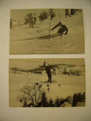 Vtg. Ski Postcards (2) Photo- Lyndonville Vermont- ski run/jump- VGC + free ship