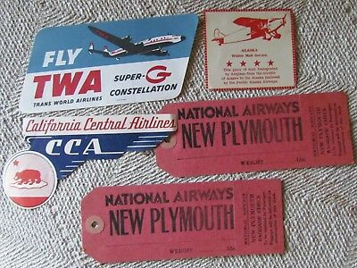 5 Vintage, Airline Baggage Tags And Stickers, Twa, Cca, National, Pacific Alaska