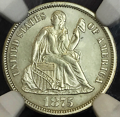 1875 Seated Liberty 10C NGC Unc Details. Clean.  An Attractive Coin