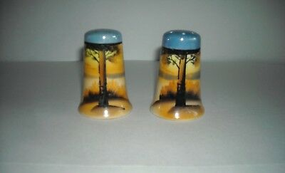 Colorful Vintage Pair of SALT and PEPPER SHAKERS Made in Japan TREE & SUNSET