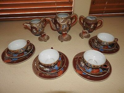 15 Piece Antique Satsuma Antique Japanese Tea Set - Immortals Style Hand Painted