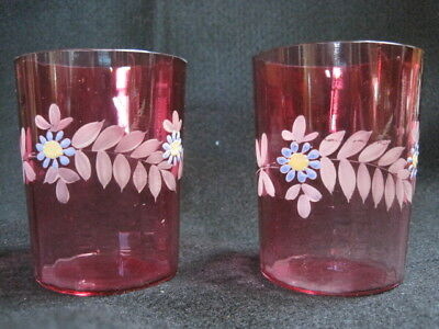 Vintage Matching Pair 1800's Victorian Cranberry Glass Floral Enameled Tumblers