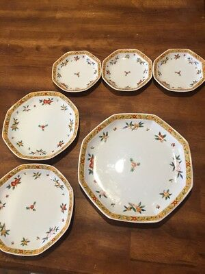 Set Of 6 Japanese Kakiemon Style Plates Octagon Yellow Band Floral VGC