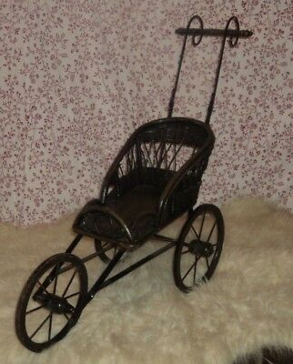 Antique Restored Wicker Doll Tricycle Stroller Carriage Buggy Child's Ornate Toy