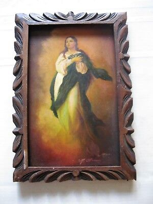Original Vintage Retablo On Tin The Ascention Of Mary Framed Signed ''moro''