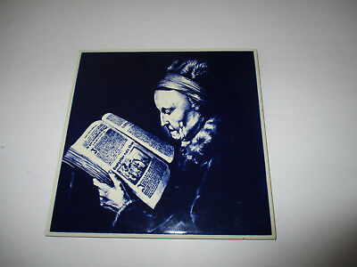 Vintage Delft Blue Hand Painted Tile--Made in Holland--6""