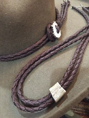 Handmade Antler Hat Band Braid Leather Western Hatband Stampede Set Tan Or Brown
