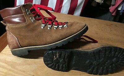 Vtg Brown tan SUEDE LEATHER Hiking BOOTS Mens 6.5 D made USA logger lumberjack