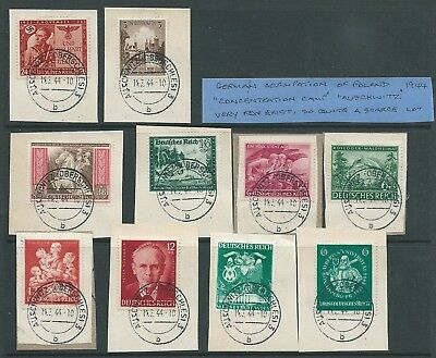 Germany Occupation Auschwitz Concentration Camp 1944 Postmark Lot On Piece