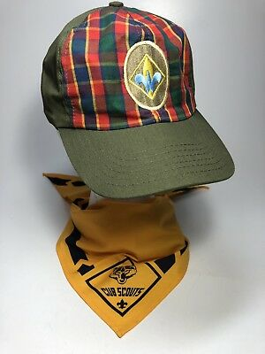 Boy Scouts of America BSA Webelos Hat M/L And Yellow Neckerchief Set