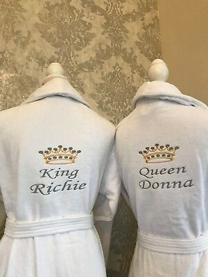 Personalised His/Her Luxury Embroidered 100% Cotton Bathrobe ,Dressing gown,robe