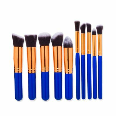 10PCS Make Up Brush Tool Set Foundation Eyebrow Eyeliner Cosmetic Brushes GA