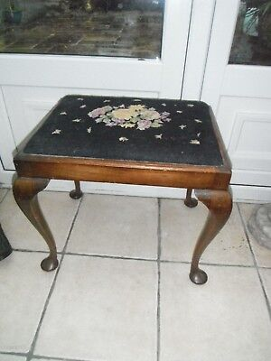 Stunning Antique wooden stool pad feet ornate tapestry top  Queen Anne legs