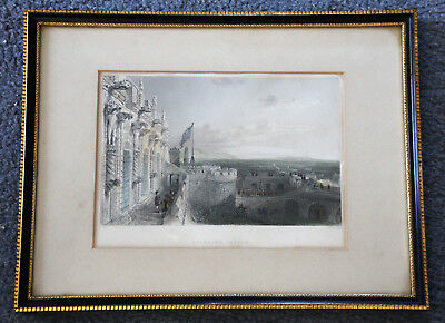 19th century hand coloured engraving of Stirling Castle by W Wallis