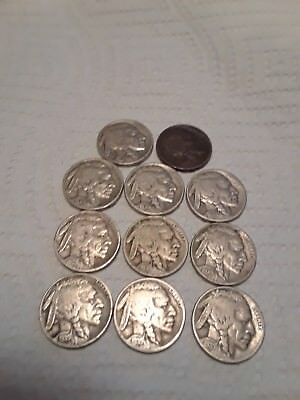 VINTAGE United States Coin Lot Of 11 Buffalo Nickels 1930s