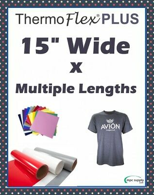 "Thermoflex Plus IRON-ON Heat Transfer Vinyl 15"" x 12"", 1,3,5, & 10 Yards"