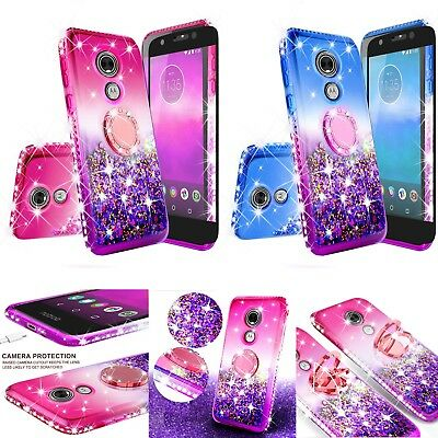 For Moto E5 (Tracfone) Cute Liquid Waterfall Shock Proof Glitter Ring Case