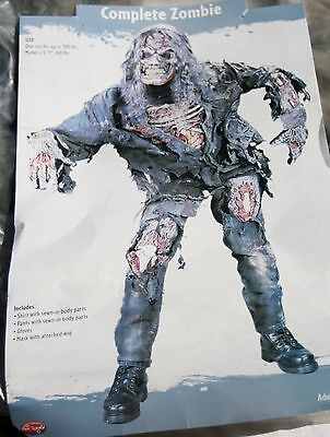 Mens 3D Deluxe Zombie Costume Mask Wig Top Pants Gloves Set Worn Once