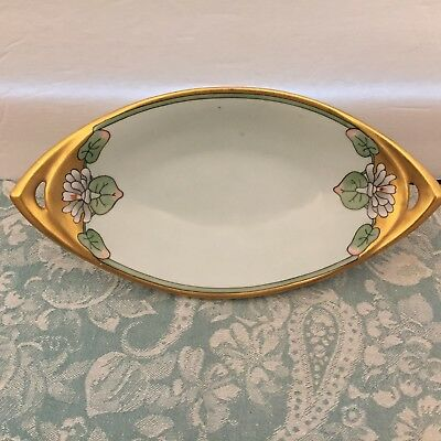 Antique VTG Haviland France Art Nouveau / Deco Porcelain HP Dish Bowl Lily Pad
