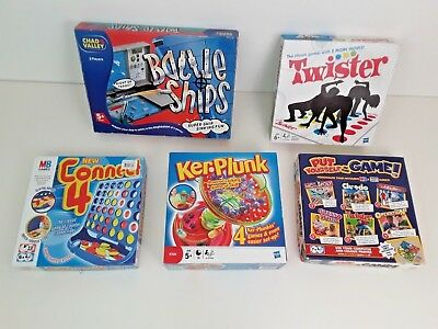 BOARD GAMES BUNDLE OF 5 * Battle Ship, KERPLUNK, CONNECT 4, TWISTER,