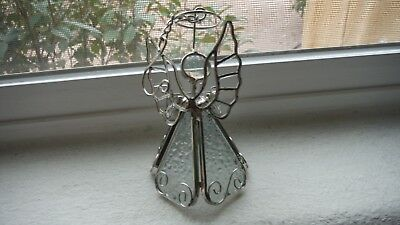 """Stained Glass Angel Christmas Ornament Silver Metal 5"""""""