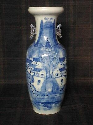 Antique Chinese Blue and White Large Temple Vase -  Early Qing Dynasty - 18th C