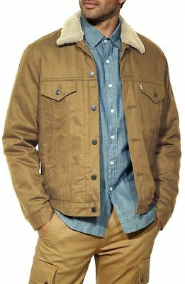 0ead8c5cfcf New Mens Levis Sherpa Trucker Twill Jacket Cougar Dark Beige 0003 All Sizes